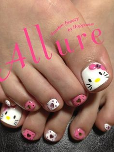 Hello Kitty & Cat Paw Prints Toe Nail Art Design , Have you even seen hello Kitty nail styles before? the lovable hello Kitty ought to be the foremost common cat within. Love Nails, How To Do Nails, Pretty Nails, Nail Swag, Hello Kitty Nails, Nails For Kids, Cat Nails, Manicure E Pedicure, Toe Nail Designs