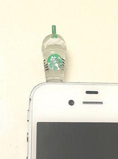 Phone dust plug jack coffee Starbucks frappe mocha ice ipad iPhone ipad mini kindle purple white