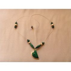 Hand crafted bone & Malachite necklace, 48cm
