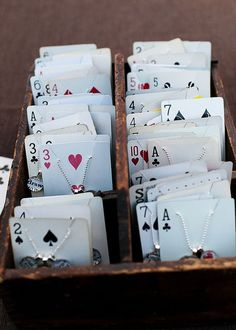 Playing cards for jewelry display photo: Carrie Hill Photography  Use 3 cards to show DDC call number, like 115, and hang the subjects it represent in on First card, 1XX, Philosophy and psychology; 110, Metaphysics ; 115, time.