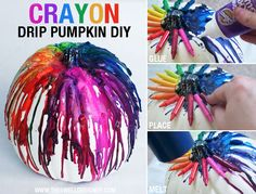 Crayon Drip Pumpkin tutorial by This could make a cool Halloween decoration with red and black crayons. Holidays Halloween, Halloween Pumpkins, Vintage Halloween, Fall Halloween, Halloween Crafts, Halloween Decorations, Halloween Party, Halloween Costumes, Halloween Ideas