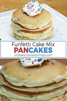 These funfetti cake mix pancakes are awesome and super easy to make. A perfect way to do something a little different with that cake mix. I mean who doesn't want cake for breakfast? This is so simple to make with the funfetti cake mix, eggs, oil, flour, and milk. If I can do it, you can do it. Let's get started! Cake Mix Pancakes, Pancakes Easy, Quick And Easy Breakfast, Breakfast For Kids, Breakfast Ideas, Birthday Breakfast, Breakfast Cake, Pancake Calories, Funfetti Cake