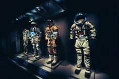Space Suits in a museum. Great lighting.