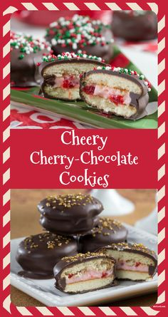 Our Cheery Cherry-Chocolate Cookies are full of classic Christmas flavor that tastes fresh from an Italian bakery! Chocolate Cherry Cookies, Chocolate Almond Bark, Chocolate Desserts, Wafer Cookies, No Bake Cookies, Holiday Cookie Recipes, Holiday Cookies, Italian Bakery, Christmas Cookie Exchange