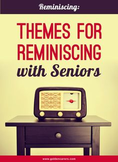 Reminiscing activities 13 Reminiscing Themes for Seniors. Reminiscence is a wonderful past time for the elderly and is suitable for those living with dementia or Alzheimer's Disease. Activities For Dementia Patients, Alzheimers Activities, Elderly Activities, Activities For Adults, Alzheimer's And Dementia, Dementia Care, Winter Activities, Exercise Activities, Physical Activities