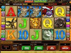 "Mega Moolah game is known as ""The Millionaire Game"" among online casino players! Not only does it provide the BIGGEST jackpots online it also comes with a great and enjoyable theme. Look out for wild African animals lurking in the savanna, that are all cleverly combined with the action from Free Spins, Scatter and Wild rewards, and the randomly triggered Jackpot Bonus Game."