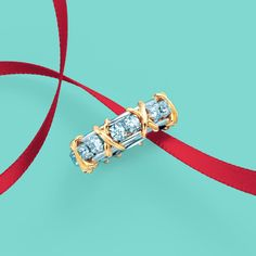 Tiffany & Co. Schlumberger® Sixteen Stone ring in 18k gold and platinum with diamonds. #TiffanyPinterest