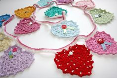 This cute heart shaped bunting is at great way to use up scrap yarn and will brighten up any corner of your home. It can be as simple or as decorative as you like.