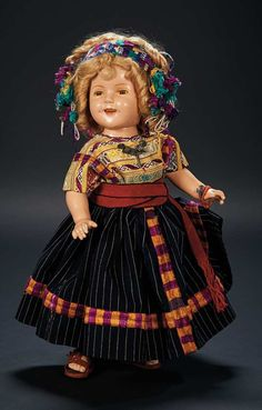 American Composition Doll of Shirley Temple by Ideal in Custom Costume of Guatemala $500+