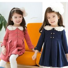 New Kids Toddlers Clothing Girls Princess Party Long Sleeve Dress Little Girl Outfits, Toddler Girl Outfits, Little Girl Fashion, Little Girl Dresses, Kids Fashion, Girls Dresses, Interview Dress, Winter Baby Clothes, Peter Pan Collar Dress