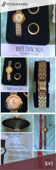 """💍 Gold Plate """"White Diamonds"""" Brand Watch 💍 Gold Plate """"White Diamonds"""" Brand Watch 💍 By Elizabeth Taylor, the White Diamonds perfume line included a beautiful watch. With two bezels (round pieces that frame the face), extender pieces, instructions and in perfect condition. Will add battery before sending. Elizabeth Taylor Accessories Watches"""