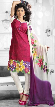 $53.20 Magenta Short Sleeve Cotton Salwar Kameez 13548