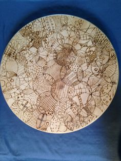 Zentangle Lazy Susan Wood burning by RusticFire on Etsy