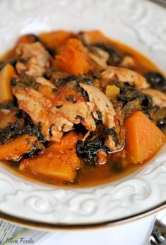 Whole 30 Chicken thighs recipe with Butternut Squash & Spinach #whole30