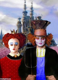 Tim Burton, Alice in Wonderland. The Mad Hatter & Queen of Hearts. American Gothic Painting, American Gothic Parody, American Art, Grant Wood, Deviant Art, Alice In Wonderland Hatter, Art Grants, Famous Artwork, American Gothic