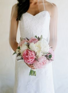 Gorgeous Pink + White Peony Bouquet   See more of this wedding on Style Me Pretty here: http://www.StyleMePretty.com/2014/03/05/romantic-wedding-at-san-ysidro-ranch Photography: Elizabeth Messina   Floral Design: Camilla Svensson Burns