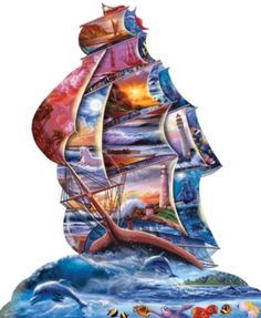 7d4b0311920 High Seas - 1000pc Shaped Jigsaw Puzzle by Sunsout (discon)