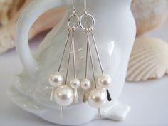 Pearl and Sterling Silver Dangle Earrings  by Joannsfortheluvofit, $20.00