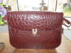 beautiful deep burgandy italian crocodile skin signed genuine crocodile inside handle can be lmade longer to make shoulder bag