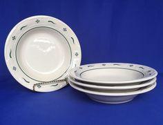"4 Longaberger Cereal Bowls Pottery Woven Traditions Green Heritage 8"" Soup Salad #Longaberger #Cerealsoupsalad"