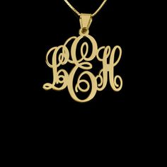 24k Gold Plated Small Monogram Necklace