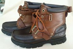 POLO Ralph Lauren Brown 2 Tone Leather Boots Zig Zag II Buckle Lace Up size  8D 80ad68feb9