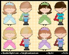 Little Royals Digital Clip Art - Commercial Use Graphic Image Png Clipart Set - Instant Download - Storybook Fairytale Prince Princess Queen...