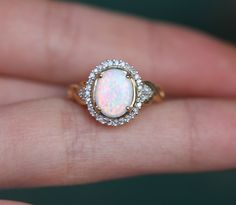 Neeeeeed 10k Yellow Gold New Oval Opal Diamond Promise Engagement ring band