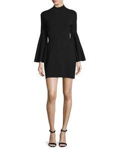 TCKG4 Milly Swing-Sleeve Mock-Neck Sheath Dress, Black
