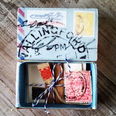 altered vintage matchbox with antique photos & stamps bundled & tied Altered Cigar Boxes, Altered Tins, Altered Art, Matchbox Crafts, Matchbox Art, Cardboard Box Crafts, Paper Crafts, Cigar Box Art, Art Postal