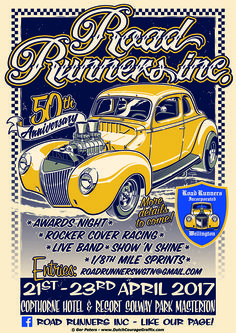 """Road Runners Inc. 50th Anniversary"" car show poster #1940 #Ford #hotrod #coupe #poster #illustration"