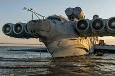 Gigantic 1980s Soviet vehicle MD-160 that dwarfs a Boeing 747 lies abandoned in the Caspian Sea | Daily Mail Online Lun Class Ekranoplan, Military Crafts, Soviet Navy, Storm Surge, Banner Images, Boeing 747, Sea Monsters, Fantasy Artwork, Brad Pitt