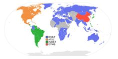 Digital terrestrial television broadcasting systems. Countries using ATSC are shown in orange.