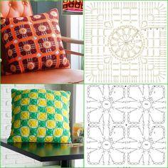 Crochet Diagram, Crochet Chart, Crochet Stitches, Knit Crochet, Crochet Patterns, Tostadas, Cushion Covers, Pillow Covers, Crochet Cushions