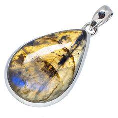 "Ana Silver Co Labradorite 925 Sterling Silver Pendant 2"" PD549477"