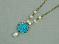 Swarovski cream pearl and blue rose flower cabochon collar necklace. FSK0026
