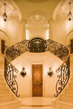 A double staircase! I want my future home to have a double staircase! Double Staircase, Grand Staircase, Staircase Design, Basement Stairway, Winding Staircase, Entry Stairs, Escalier Design, Luxury Homes Interior, Interior Architecture
