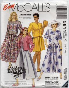 UNCUT Vintage McCalls Sewing Pattern Misses Creative Clothing Pull on Skirt 2682
