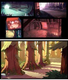 Artes do desenho animado Gravity Falls, da Disney