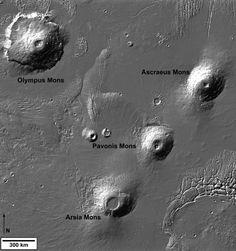 Les principaux volcans du dôme de Tharsis sur Mars. Olympus Mons est le plus gros volcan en haut à gauche de l'image et les trois Tharsis Montes sont alignés sur la droite de l'image, avec du sud-ouest ou nord-est : Arsia Mons, Pavonis Mons, et Ascraeus Mons. Cette image a été réalisée à partir des données de relief de l'instrument Mars Orbiter Laser Altimeter embarqué sur la sonde Mars Global Surveyor.