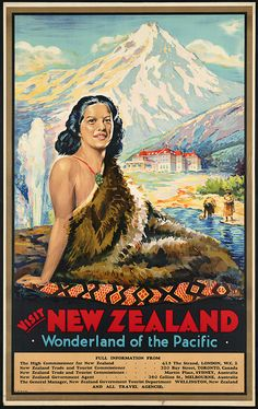 Visit New Zealand- Maori Vintage Travel Poster -Photo, Print Reproduction in Visit New Zealand, New Zealand Art, New Zealand Travel, Tourism Poster, Travel Tourism, Nz Art, Maori Art, Kiwiana, Vintage Travel Posters