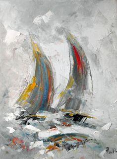 """Tableau """"Duo de voiles dans la brume"""" - peintures-axelle-bosler : Peintures par peintures-axelle-bosler Sailboat Art, Sailboat Painting, Abstract Canvas, Canvas Art, Art Techniques, Art Images, Sculpture Art, Watercolor Art, Modern Art"""