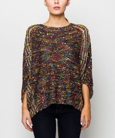 Love this Black & Pink Kaleidoscope Cape-Sleeve Sweater by V.O. Jeans on #zulily! #zulilyfinds