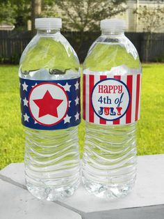 July Fourth Water Labels Printable - 4th of July -Stars and Stripes Collection Collection on Etsy, $6.00