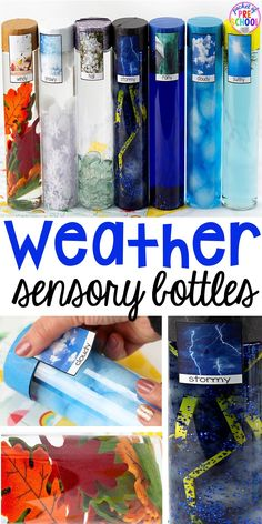 preschool Weather is always a fun science topic to explore! Bring the weather inside with weather sensory bottles. Students can explore the different types of weather, how they look and sou Sensory Bottles Preschool, Preschool Science, Preschool Lessons, Sensory Bins, Preschool Learning, Sensory Activities, Infant Activities, Sensory Play, Baby Sensory Bottles
