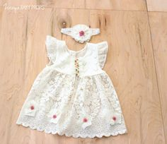 SINGING DAFFODIL Vintage  Lace Dress, Baby Girl Props, Baby Girl  Dress, Newborn Photography, Vintage Lace, Vintage Props by ZorayaBabyProps on Etsy