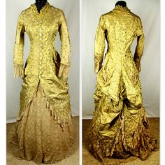 Golden Floral Silk Brocade and Lace Bustle Gown, French, c. 1875