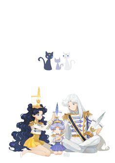 Sailor Moon - Artemis x Luna & Diana - Moon Cats Sailor Moons, Sailor Moon Manga, Sailor Jupiter, Sailor Moon Fan Art, Diana Sailor Moon, Sailor Scouts, Fanarts Anime, Manga Anime, Luna Et Artemis