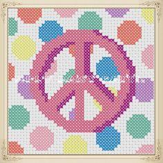 free cross stitch patterns online   Polka Dot Peace ... by MelsDaisyPatch   Embroidery Pattern
