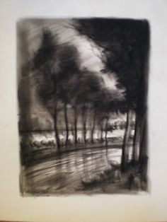 The use of various types of charcoal enrich the shape of the objects in the drawing.